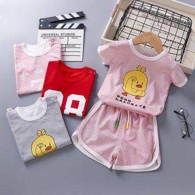 儿童纯棉短袖套装【0-6岁】女宝宝T恤短裤两件套夏季男童运动套装