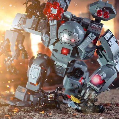 兼容乐高积木复仇者联盟钢铁侠反浩克装甲机甲男孩玩具变形机器人