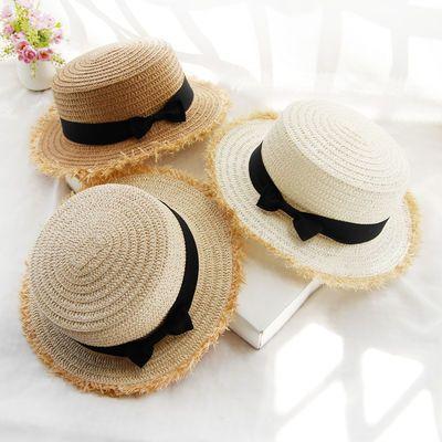 遮阳帽女夏天帽子蝴蝶结太阳帽户外出游青年防晒草编度假海边草帽