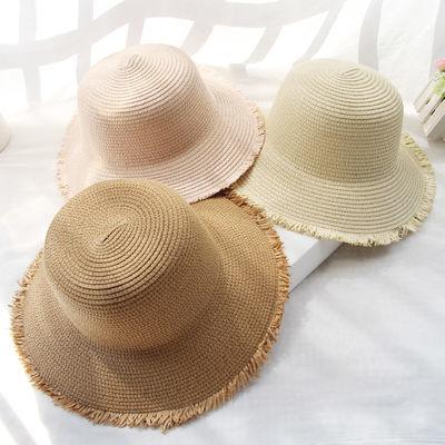 草帽女夏天帽子遮阳帽纯色防晒帽户外韩版百搭太阳帽沙滩帽可折叠