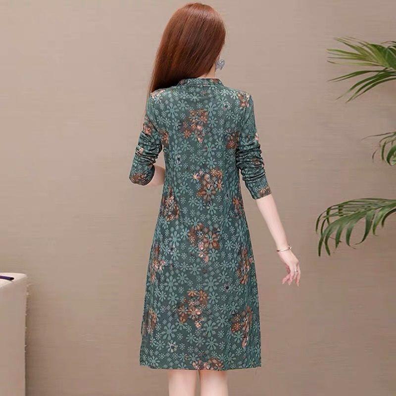 【仿棉麻】2020秋季新款长袖连衣裙大码女装印花中长款显瘦a字裙