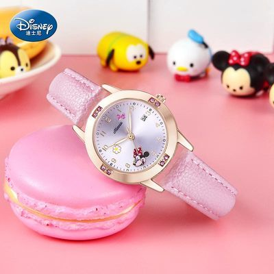 56830/迪士尼手表女孩小学生可爱6-12岁韩版防水夜光儿童初中电子表正品