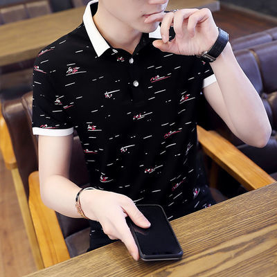 棉短袖男士t恤夏季翻领Polo衫新款学生韩版男装宽松半袖体恤潮