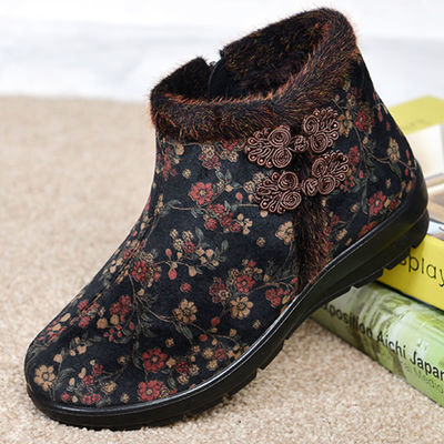 中老年老北京棉鞋老太太鞋女冬防滑老人二棉鞋女奶奶秋冬靴子短靴