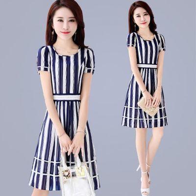 夏装连衣裙2020新款夏天韩版中长款装夏季气质淑女雪纺条纹