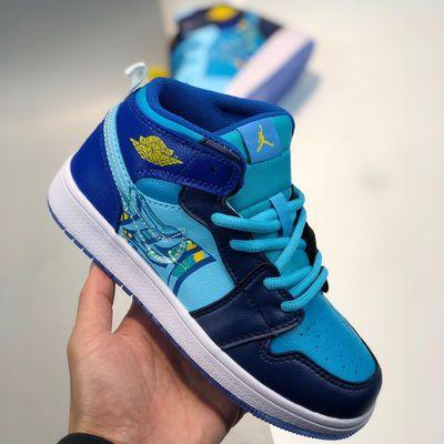 AJ1冰蓝鸳鸯油画泼墨BV7446-400鞋AJ1鸳鸯空军一号板鞋儿童篮球鞋
