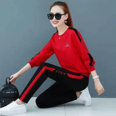 运动套装女春秋季新款女士圆领长袖大码显瘦女装跑步休闲服两件套