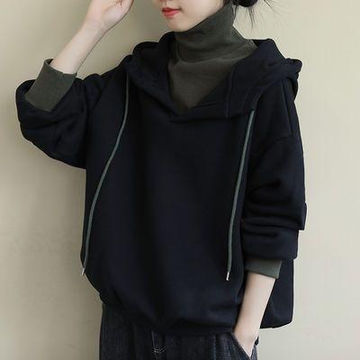 加绒加厚卫衣女连帽秋冬季新款韩版高领长袖假两件休闲外套上衣潮