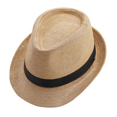 草帽男短檐帽子春夏天韩版英伦复古礼帽休闲百搭酒吧员工爵士帽女