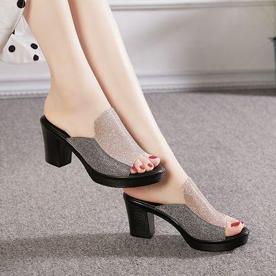 中年外穿粗跟凉拖鞋女夏高跟时尚百搭鱼嘴一字拖女士新款妈妈拖鞋