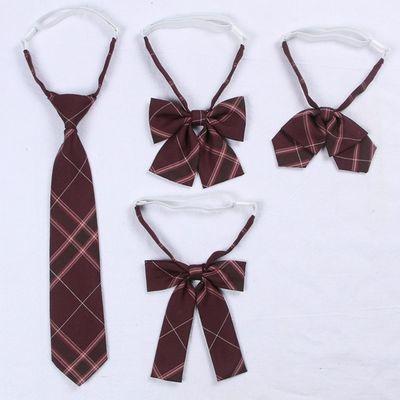 【沙华】款配套领带正版原创jk制服领花日系学院风酒红色格子领结