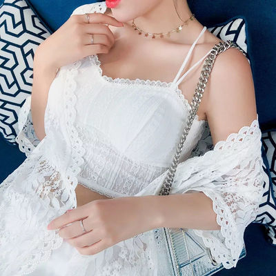 美背吊带小背心夏季蕾丝裹胸抹胸带胸垫短款打底内衣女外穿防走光