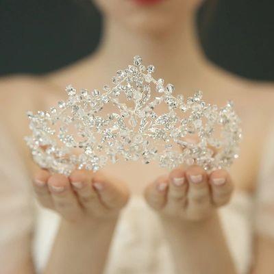 高端大气奢华水晶串珠王冠新娘皇冠结婚配饰影楼摄影盘发造型头饰