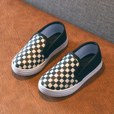 儿童帆布鞋春秋女童鞋宝宝单鞋男童板鞋幼儿园小白鞋一脚蹬懒人鞋