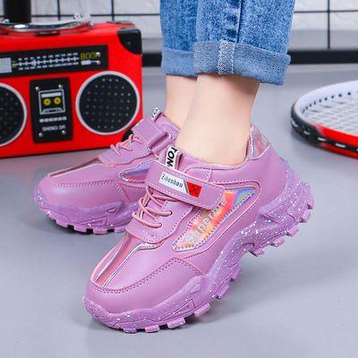 春秋儿童新款运动鞋学生女童鞋子中大童女孩透气2020休闲皮面单鞋