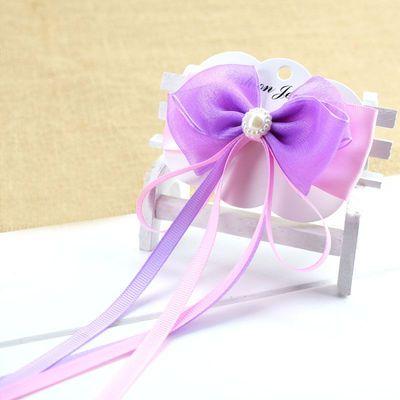 女童长飘带蝴蝶结发夹甜美可爱手工发卡盘发编发头花十色可选