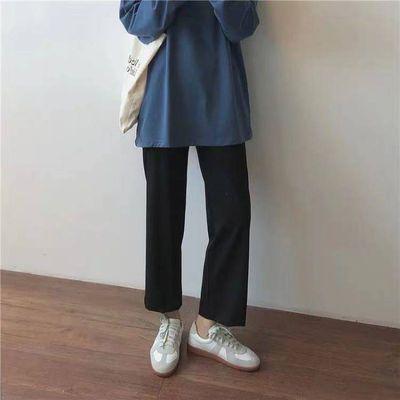 【80-200斤】黑色西装裤子女学生春秋宽松九分休闲百搭直筒阔腿裤