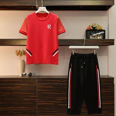短袖夏季2020时尚冰丝针织宽松显瘦休闲七分裤两件套装