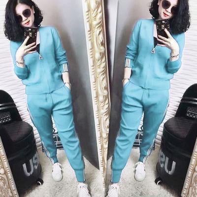 春装新款冰丝针织休闲运动套装圆领休闲裤两件套时尚潮