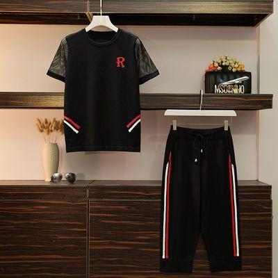 欧洲站套装春秋毛衣冰丝针织开衫短袖外套女装休闲裤两件套装时尚