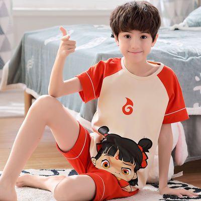 儿童睡衣纯棉男童短袖夏季中大童小男孩家居服小孩子宝宝薄款套装
