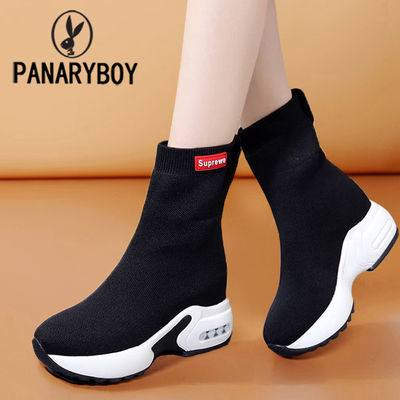 OPANARYBOY春季韩版松糕厚底内增高网纱透气切尔西套脚袜子女靴鞋