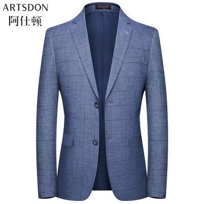 阿仕顿2020春季新款都市潮流男士单西外套修身便西格子西装上衣男