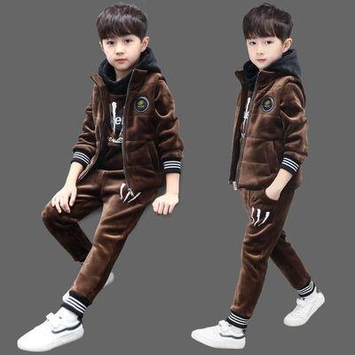 男童冬装加绒加厚三件套儿童装秋冬季小男孩金丝绒韩版中大童套装