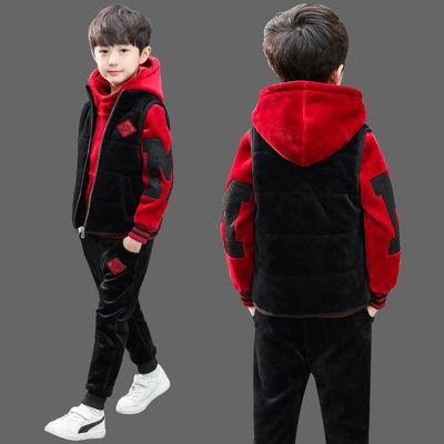 童装男童冬装三件套2020新款儿童男孩帅气加绒加厚秋冬季大童套装