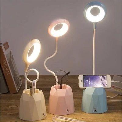 台灯护眼学习USB可充电插电学生宿舍卧室触摸床头灯少女心保视力