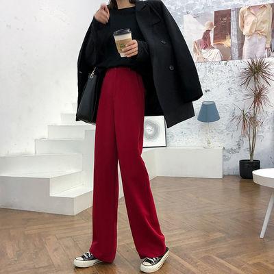 垂感阔腿裤女2020春秋新款韩版学生宽松百搭显瘦西装直筒拖地长裤