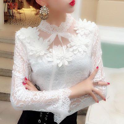 洋气小衫女2020春秋立体花朵镂空长袖蕾丝衫女日系甜美公主打底衫