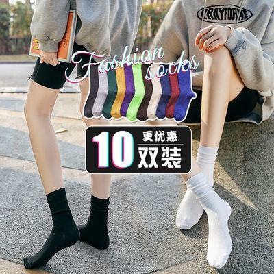 堆堆袜女韩版网红百搭黑色白色ins长袜子中筒潮日系春秋夏季薄款