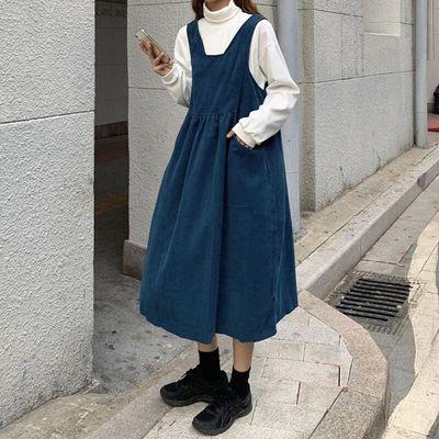 87208/秋季新款复古背带连衣裙女学生长裙韩版宽松百搭显瘦中长款a字裙