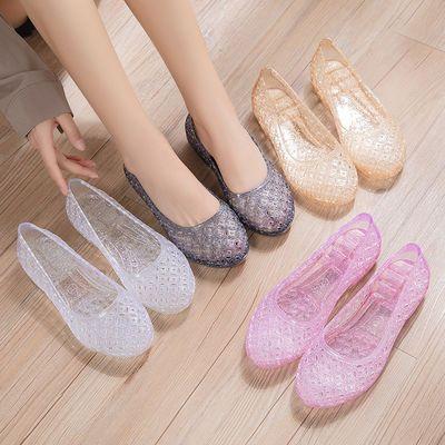 【二件套】夏季水晶果冻凉鞋女新款防滑外穿时尚百搭低跟妈妈拖鞋