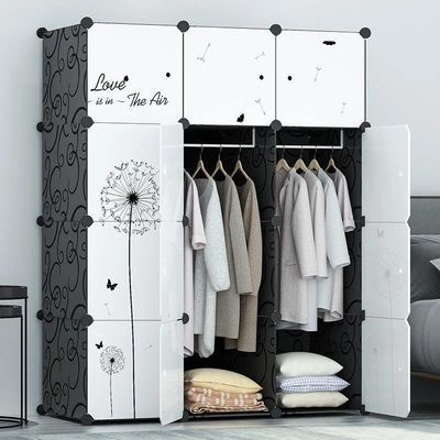 简易衣柜钢管加粗加固加厚塑料收纳盒钢架挂衣儿童双人单人收纳柜