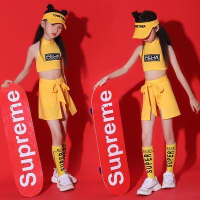 六一儿童啦啦操演出服女孩韩版露脐爵士舞服装幼儿园拉拉队表演服