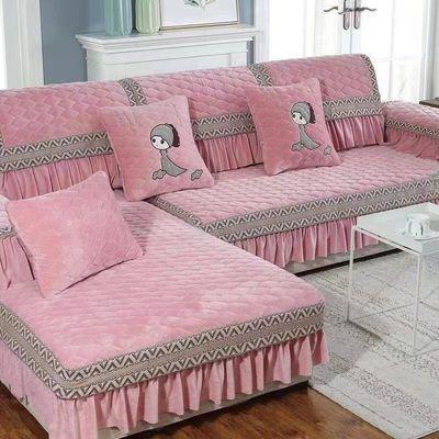 冬季毛绒沙发垫防滑四季通用沙发套罩装欧式坐垫加厚全包万能罩巾