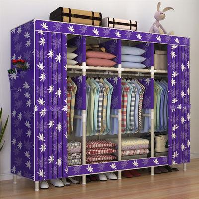 布衣柜收纳架简易衣柜双人实木牛津布置物柜新款加粗加固双人衣橱