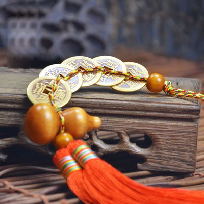 五帝钱挂件开光仿古铜钱招财桃木葫芦风水纯铜保平安