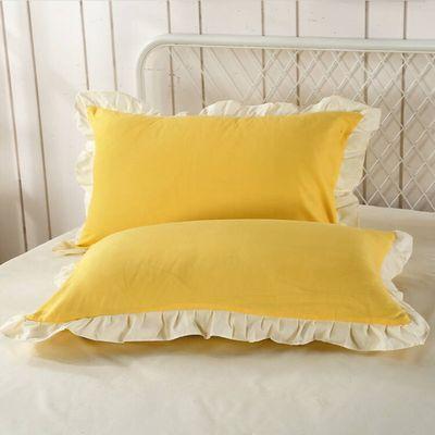 韩版公主风花边枕套单人枕套一对亲肤磨毛枕套通用枕芯枕头套子