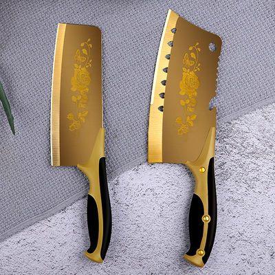 百年蔷薇刀钛金刀六件套切菜刀砍骨刀水果刀厨房家用菜刀菜板套装