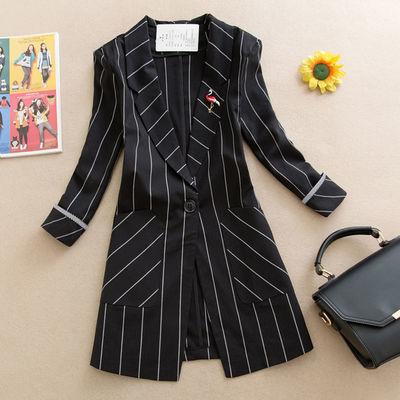 春夏季条纹小西装外套女秋装新款复古休闲时尚七分袖工装西服上衣