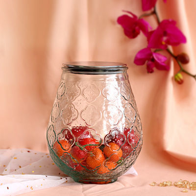 北欧风复古绿压花玻璃密封储物罐超大厨房杂粮4斤海棠图案储物罐