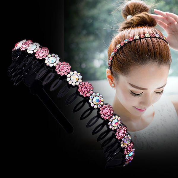 便宜的韩版水钻发箍简约防滑头箍波浪带齿成人发卡头饰刘海发夹发带发饰