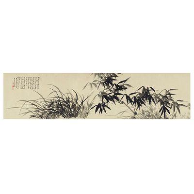 石涛兰竹图国画水墨竹子挂画名家字画艺术微喷复制品竹子画芯横幅