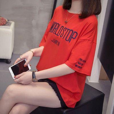 胖mm百搭字母短袖t恤女学生韩版宽松原宿风上衣