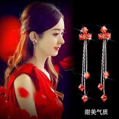 新款锆石冰花纯银针长款耳环女韩版气质百搭耳钉防过敏个性耳坠