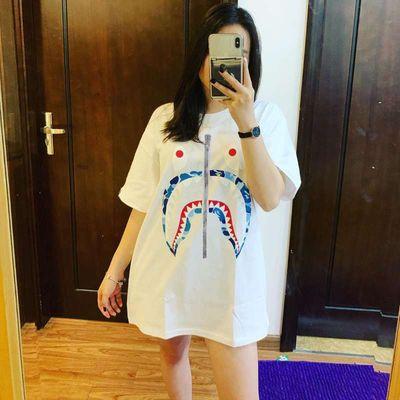 ins鲨鱼短袖男女同款星空迷彩拼色夜光休闲日系潮牌纯棉猿人头T恤