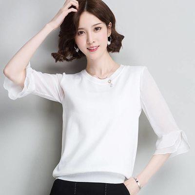 2020夏季新款白色短袖T恤女宽松短款雪纺袖打底衫冰丝半袖上衣薄